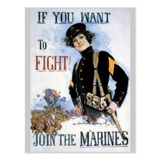 Kriegs-Plakat-Postkarten, Weltkrieg-Marinesoldaten Postkarte
