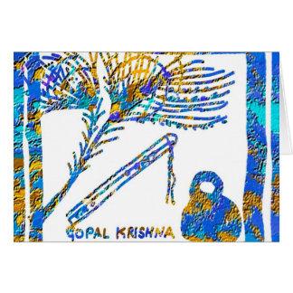 Krishna - Flöte, Buttermilch der Pfau-Feder-n Mitteilungskarte