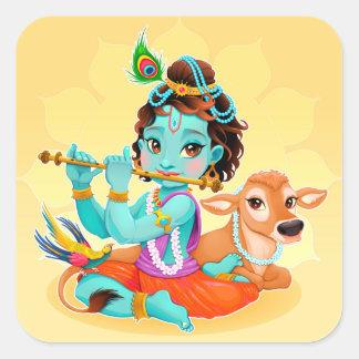 Krishna indischer Gott, der Flötenillustration Quadratischer Aufkleber