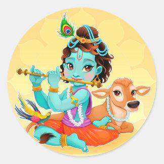 Krishna indischer Gott, der Flötenillustration Runder Aufkleber