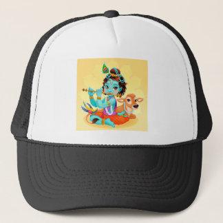 Krishna indischer Gott, der Flötenillustration Truckerkappe