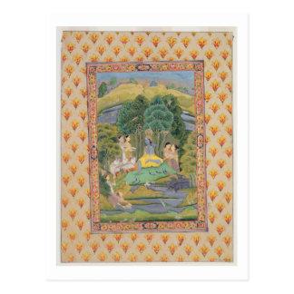 Krishna und das Gopis (Gouache auf Papier) Postkarte