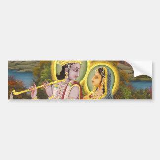 Krishna und Radha auf Lotos Autoaufkleber