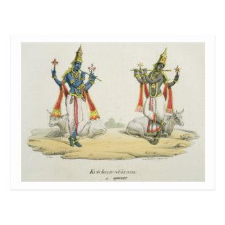 Krishna Venugopala, graviert von de Marlet und du Postkarte