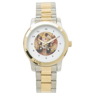 KRISHNA:    Zwei-Ton Goldsilber Armbanduhr