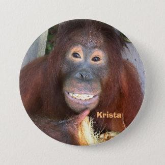 Krista Orang-Utan Lächeln mit Kokosnuss Runder Button 7,6 Cm