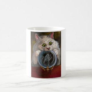 KRISTALLball weiße Katzen-MäuseTasse Kaffeetasse