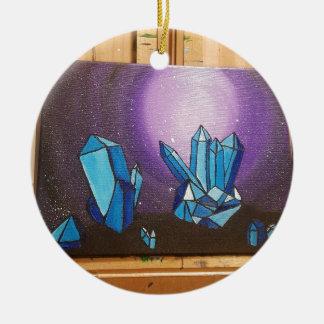 Kristalle auf dem walll in 3d rundes keramik ornament