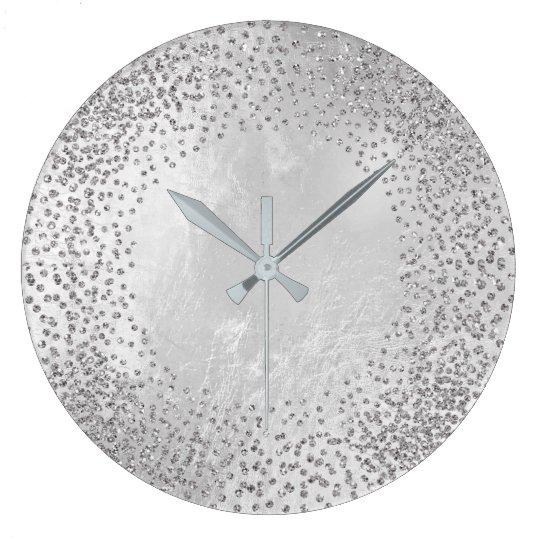 Kristalleconfetti Glitzer graues silbernes Große Wanduhr