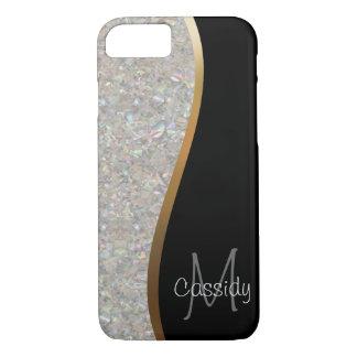 KristallGlitter-Felsen, Gold und schwarzer Strudel iPhone 8/7 Hülle