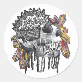Kristallschädel-Mandala Runder Aufkleber