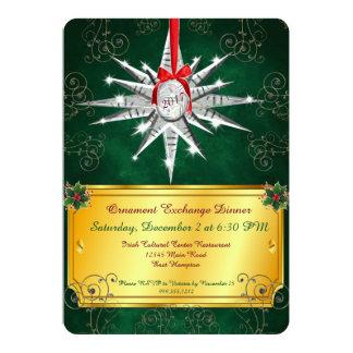 Kristallverzierungs-Weihnachtsabendessen-Einladung Karte