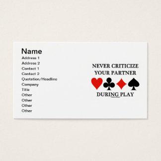 Kritisieren Sie nie Ihren Partner während des Visitenkarte