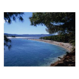 Kroatien, Brac Insel, Bol, goldener Kap-Strand 2 Postkarte