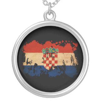 Kroatien-Flagge Halskette Mit Rundem Anhänger