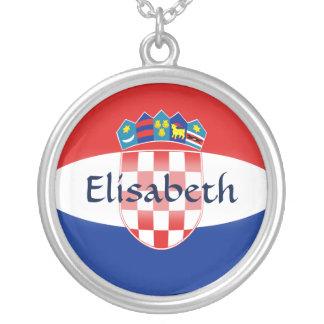 Kroatien-Flagge + Namenshalskette Halskette Mit Rundem Anhänger