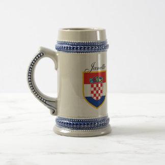 Kroatien-Flagge personalisiert Bierglas