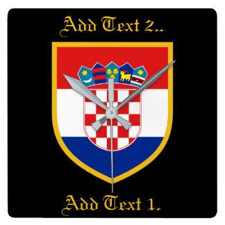 Kroatien-Flagge personalisiert Quadratische Wanduhr