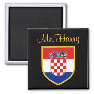 Kroatien-Flagge personalisiert Quadratischer Magnet