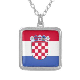 Kroatien-Flagge Versilberte Kette