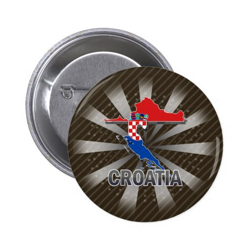Kroatien-Flaggen-Karte 2,0 Anstecknadelbuttons