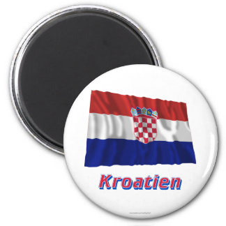 Kroatien Fliegende Flagge MIT Namen Runder Magnet 5,1 Cm