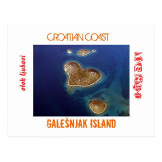 Kroatien - geformte Insel Galešnjak des Herzens Postkarte
