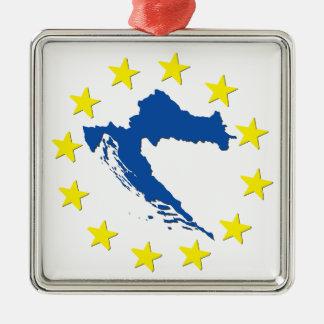 Kroatien in EU Silbernes Ornament
