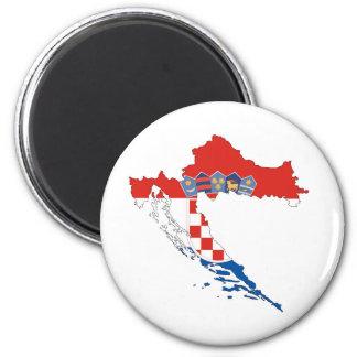 Kroatien-Landflaggen-Kartenform-Silhouette Runder Magnet 5,1 Cm