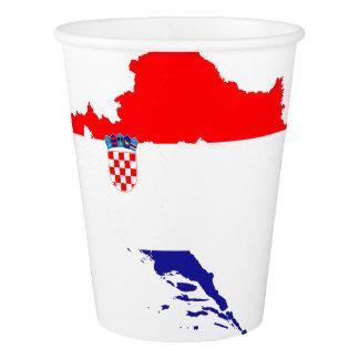 Kroatienflagge und -karte pappbecher