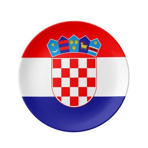 Kroatische Flagge Platte Porzellanteller