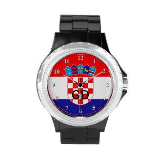 Kroatische Flaggenarmbanduhr für Männer und Frauen Handuhr