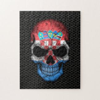 Kroatischer Flaggen-Schädel auf Stahlmaschen-Grafi Jigsaw Puzzle
