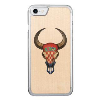 Kroatischer Flaggen-Stier-Schädel Carved iPhone 8/7 Hülle