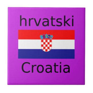 Kroatischer Flaggen-und Sprachentwurf Keramikfliese