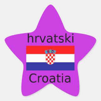 Kroatischer Flaggen-und Sprachentwurf Stern-Aufkleber