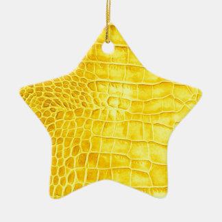 Kroko gelbes Leder Keramik Ornament