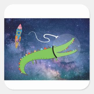 Krokodil in der Kunst der Raum-Kinder Quadratischer Aufkleber
