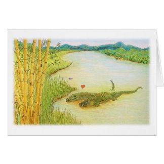 Krokodil-Liebe, die Gruß-Karte zeichnet Karte