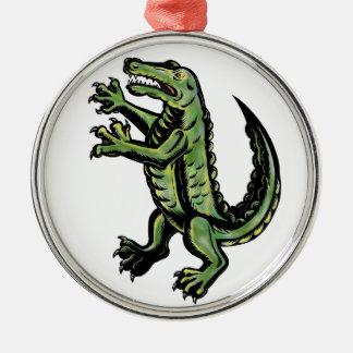 Krokodil-stehende hohe Tätowierung Silbernes Ornament