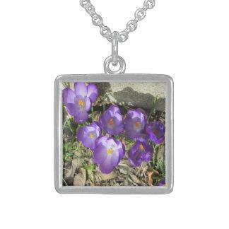 Krokus-Blume lila Sterling Silberkette
