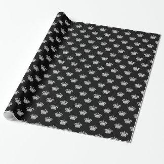 Krone 01 - Weiß auf Schwarzem Geschenkpapier