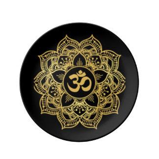 Krone Chakra schwarzes Gold Teller
