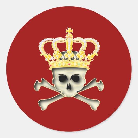 Krone Totenkopf Schädel crown skull Runder Aufkleber