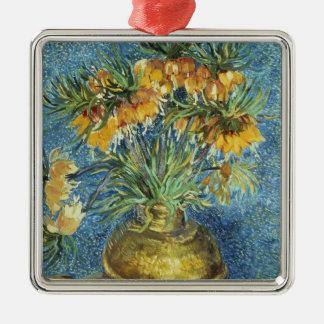 KronekaiserFritillaries Vincent van Goghs | Quadratisches Silberfarbenes Ornament