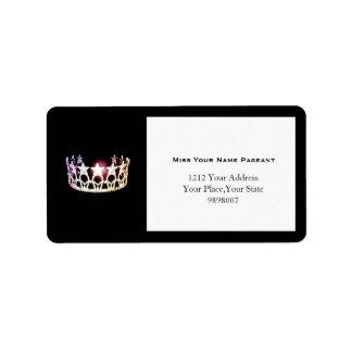 Kronen-Adressen-Etiketten Fräulein-USA silberne Adressaufkleber