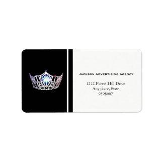 Kronen-Adressen-Etiketten Miss Amerikas silberne Adressaufkleber
