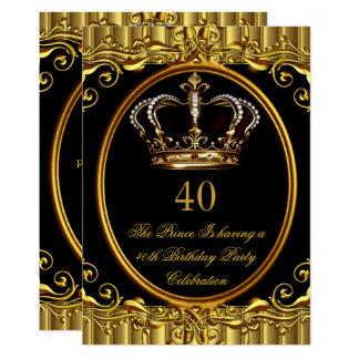 Kronen-Geburtstag 4 Prinz-König Gold Royal Black Karte