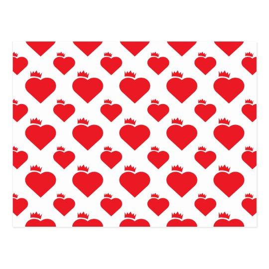 kronen herz muster rot postkarte zazzle. Black Bedroom Furniture Sets. Home Design Ideas