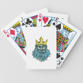 Kronen-Kopf-Holzschnitt Neptun Trident Bicycle Spielkarten